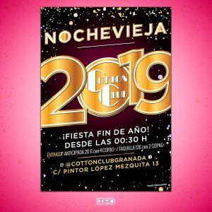 Diseño cartelería Nochevieja 2019 para Cotton Club Granada
